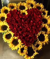 Sunflowers and Roses Heart  in Chicago at Crystal Flower Shop