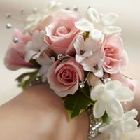 Freesia and Pink Roses Corsage in Chicago at Crystal Flower Shop