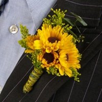 Mini Sunflowers Boutonniere in Chicago at Crystal Flower Shop