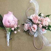 Set of Corsage of Mini Pink Roses and Matching Boutonniere in Chicago at Crystal Flower Shop