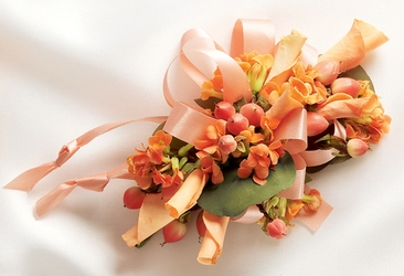 Sweet Peach Corsage in Chicago at Crystal Flower Shop