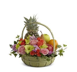 The FTD Rest in Peace(tm) Fruit & Flowers Basket in Chicago at Crystal Flower Shop