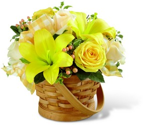 The FTD Sunny Surprise Basket in Chicago at Crystal Flower Shop