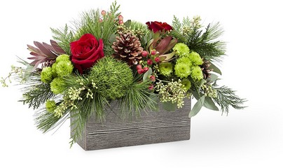 The FTD Christmas Cabin Bouquet in Chicago at Crystal Flower Shop