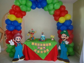 Mario Theme Cake Table in Chicago at Crystal Flower Shop