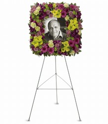 Mosaic of Memories Square Easel Wreath in Chicago at Crystal Flower Shop
